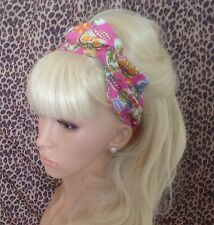 NEW PINK CANDY SUGAR SKULL PRINT BENDY WIRE TWIST BOW WIRED HAIR HEAD BAND RETRO