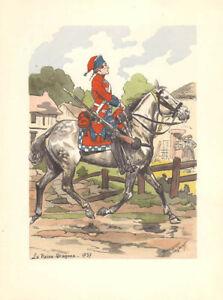 MAURICE TOUSSAINT -VINTAGE POCHOIR- MILITARY- LA REINE-DRAGONS 1737 -PARIS -1947
