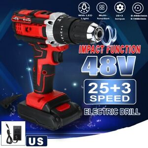 3 In 1 48V Cordless Hammer Electric Impact Drill 2 Speed Li-ion Screwdriver Tool