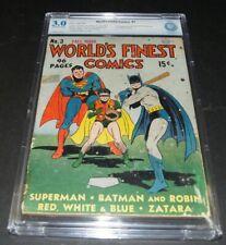WORLD'S FINEST COMICS #3 CBCS 3.0 1st Scarecrow. Batman Superman Key GA. Not CGC