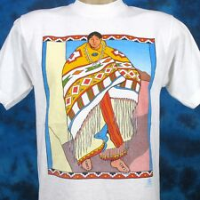 vintage 80s NATIVE AMERICAN SQUAW T-Shirt L/XL zuni indian cartoon cowboy thin