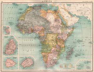 COLONIAL AFRICA. British French German Portuguese Italian Spain Belgian 1898 map