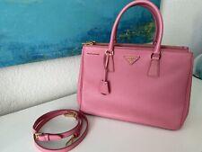 PRADA Saffiano Lux Leather Tote Bag - Geranio Pink