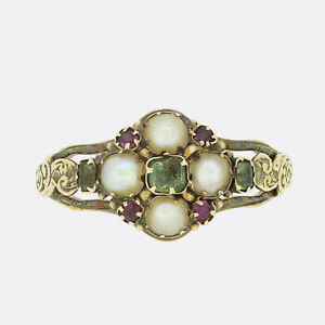 Georgian Emerald Ruby and Pearl Cluster Ring 15ct Gold