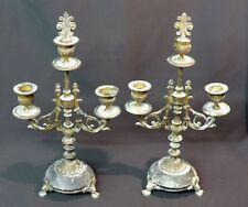 1840 paire bougeoir flambeau candélabre 35cm2.2kg bronze doré marbre déco rare