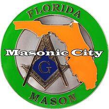 Z-151 FL Masonic Auto Emblem STATE SERIES FLORIDA FreeMasonry Car Mason PHA