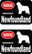 2 protected by Newfoundland dog car bumper home window vinyl decals stickers