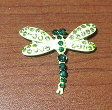 Green Dragonfly Pin Brooch Crystal Accents New Dragonflies