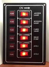 Marine Boat Aluminum Plate Vertical Switch Panel 6 Gang UL Illuminated Switches
