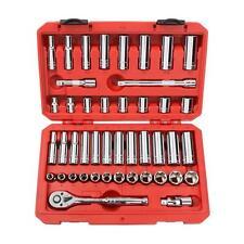 TEKTON Tool 6 Point 3/8 inch Drive Ratchet Socket 45 Piece Set Metric SAE Case