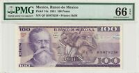 PMG Certified Mexico 1981 100 Pesos Banknote UNC 66 EPQ Gem Pick 74a US Seller