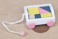 1:12 Scale Pull Along Wood Trolley & Bricks Tumdee Dolls House Miniature Nursery