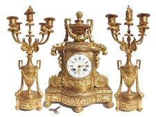 F. Barbedienne Paris Bronze Feuer vergoldete Kamin Uhr & zwei Leuchtern um 1850!