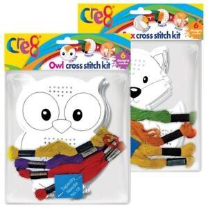 Craft Set Cross Stitch Kit Kids 6 Traditional Children Designs Tapestry Sewing