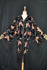 Art Black Orange Butterfly Burnout Velvet Fringe Jacket Coat Kimono Duster Long