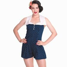 NWT - HELL BUNNY 'POLKA DOT' 50's' ROCKABILLY Pin-Up JUMPSUIT / ROMPER - S
