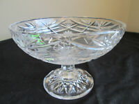 Vintage Cut Crystal Glass Pedestal Bowl - Heavy Fruit / Nut / Candy Dish