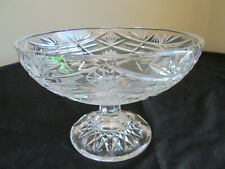 Vintage Cut Crystal Glass Pedestal Bowl - Heavy Fruit / Nut / Candy Dish
