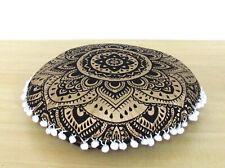 "16"" Small Round Black Golden Mandala Room Decoretive Cotton Pillow Covers Throw"