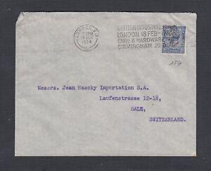 UK 1934 J.&J.C. PERFIN W/ BRITISH INDUSTRIES ADVERTISING CANCEL ON COVER LONDON
