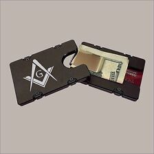 FREE MASON LOGO Billet Aluminum Wallet with removable Money Clip
