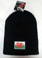 BLACK / GREY reversable WELSH FLAG design Wooly BEANIE / SKI HAT, Wales, Cymru