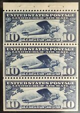 SCOTT #C-10, BOOKLET PANE OF 3, VF+, MOG NH, CAT $110, A BEAUTY! -APS MEMBER