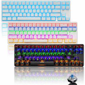 Bluetooth Wireless Mechanical Gaming Keyboard RGB Type C Blue Switch LED Backlit