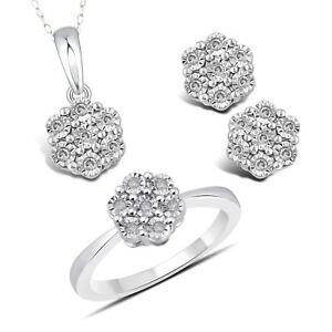0.40 ct Genuine Diamond Flower 14K White Gold Finish Ring Earrings & Pendant Set