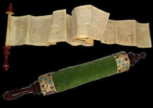 ESTHER SCROLL MANUSCRIPT ON CALF PARCHMENT MOROCCO 200-250 year old. מגילת אסתר