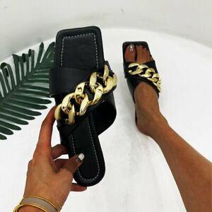 Womens Metal Chain Slipper Fashion Summer Open Toe Flat Sandals Shoes Beach Chic
