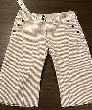 NWT Lacoste Navy Blue White Pinstriped Nautical Capri Pants Size 38 6 MSRP $135
