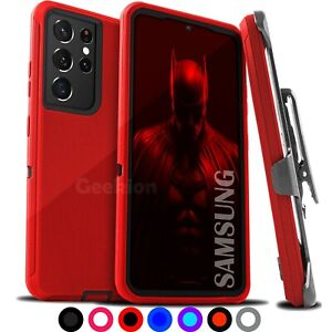 For Samsung Galaxy S21 21+ Ultra Shockproof Protective Hybrid Case + Belt Clip