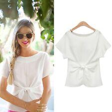 New Fashion Womens Ladies Short Sleeve Casual Chiffon Shirt Tops Blouse T-Shirt