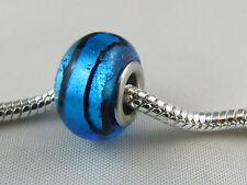 SILVER CORE MURANO GLASS BLUE FOIL BEAD FOR EURO STYLE CHARM BRACELETS #MSB 356