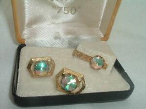 Vintage Estate Swank Tourmaline Cufflinks and Tie Clasp Set in Gift Box