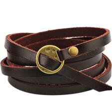 Vintage Unisex Tribal Women/Men Surfer Multilayer Leather Wrap Cuff Bracelet Hot