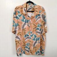 Batick Bay Mens Peach Button Up Tropical Hawaiian Camp Rayon Shirt Size XXL