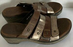 Born Hand Crafted Platinum & Brown Sandal Shoes Women's SZ 7.5 Adjustable Straps
