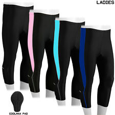 NEW Ladies Cycling Shorts 3/4 Three Quarter Legging Tights Coolmax Padded