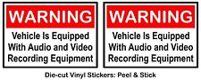 (Set of 2) Warning - Video & Audio Recording HD Color Vinyl decal sticker car