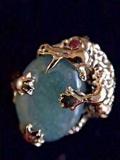Vintage 14K Yellow Gold Dragon Ring w/Jade Stone & One Ruby Eye size 6 1/4