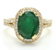5.38 Ct Natural Zambian Emerald and Diamonds in 14K Solid Yellow Gold Women Ring