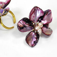 Purple Shell and Pearl Flower Gold Plated Ring Fit Any Size (RI46)a