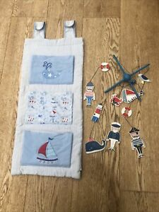 Nautical Baby Nursery Cot Mobile And Storage Hanger Boats Whales Blue