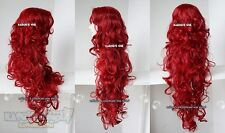 crimson red long curly side part bangs 90cm long cosplay wig . DC poison ivy