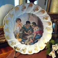 Bowl: Decorated Limoges France Porcelain Scalloped ~Scene Children Playing Games