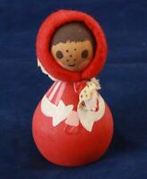 Vintage Wooden Hand Made Figurine Child with Scarf Red and White
