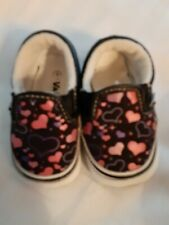 Vans Infant Sz 1 navy white with pink hearts Slip on great condition Preowned