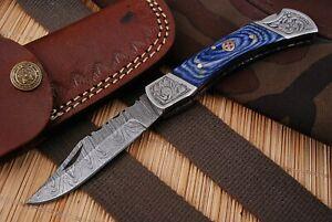 Hunting Nest Custom Handmade Damascus Art folding Knife WOOD Handle 833H